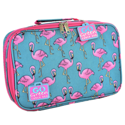 go green lunch box set flamingo