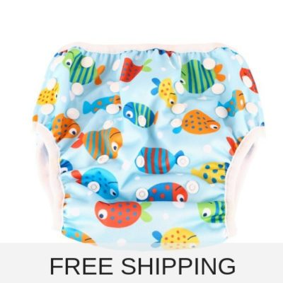 Large reusable swim nappy with colourful fishes to fit baby and kids from 8-24 kg