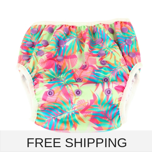 girl reusable swimming nappy with colourful leaves to fit baby and kids from 8-24 kg