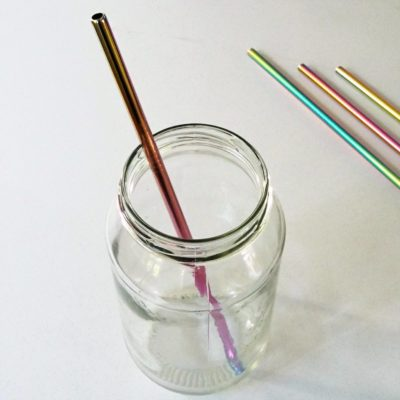 rainbow stainless steel straw straight