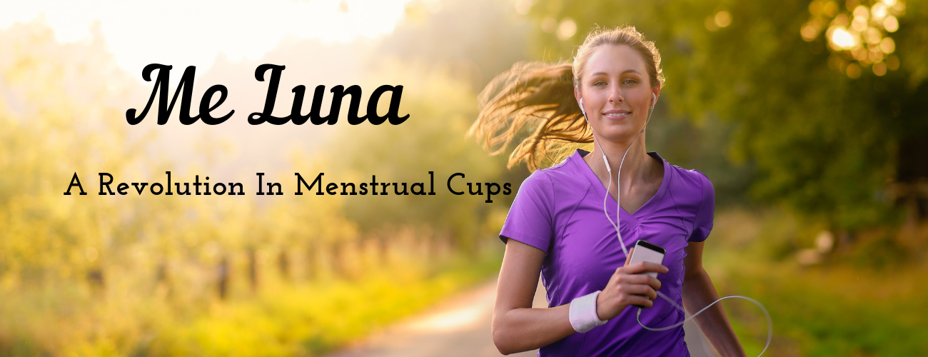 Woman exercising while using a menstrual cup for women with a strong pelvic floor