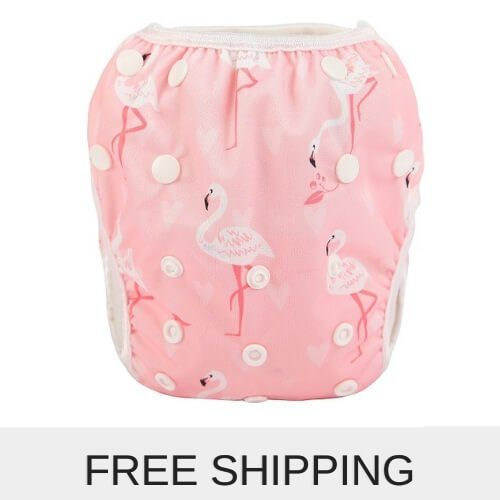baby reusable swim nappies flamingo