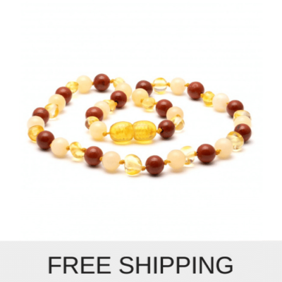 gemstone and amber necklace red jasper and jade