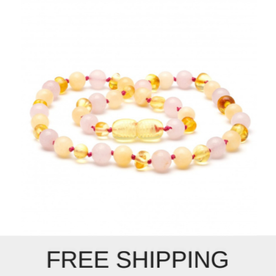 gemstone and amber necklace rose quartz and jade