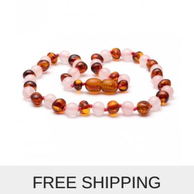gemstone amber necklace rose quartz