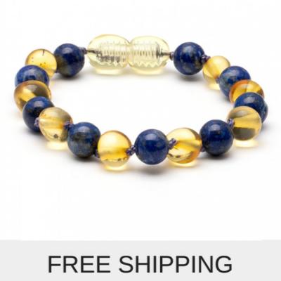 lapis amber bracelet