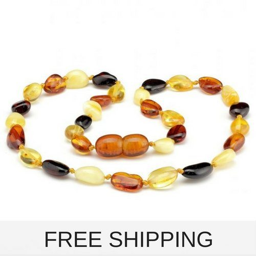 Multicolored baby amber necklace